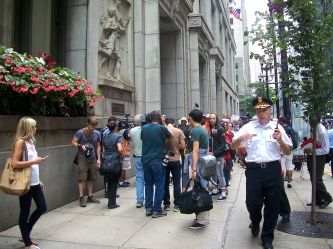 Aug. 2013 | Protesters demand education justice outside the Chicago Board of Education. | Photo/Emily Gray Brosious