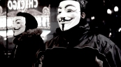 Nov. 2014   Anonymous demonstrators at Ferguson solidarity march in downtown Chicago.   Photo/Emily Gray Brosious