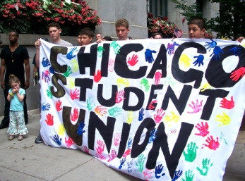 Aug. 28, 2013 | Members of the Chicago Student Union called on the Chicago Board of Education to impose a moratorium on massive CPS budget cuts, school closures, turnarounds, phase-outs and charter expansion. (Photo/Emily Brosious)