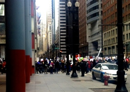 Mar. 27, 2013 | Teachers, students, parents and hundreds of community members march through Chicago's Loop to protest the closure of 50 Chicago Public Schools.