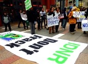 Oct. 21, 2013   Environmental activists protest fracking in Illinois.
