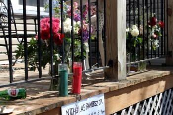 Memorial for Nicholas Ramirez, 19, who was fatally shot Apr. 19 in the 1600 block of West Hubbard Street in Chicago's West Town community. (Photo by Emily Brosious / Apr. 25, 2014)