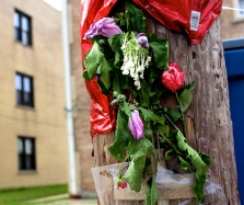 Memorial for Vincente Obregon, 21, who was fatally shot Aug. 4 in the 7300 block of South Kedzie Avenue in the Chicago Lawn community. (Photo by Emily Brosious / Aug. 8, 2014)