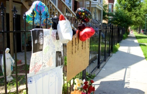 Memorial for Jeremiah Shaw, 19, who was shot to death Aug. 6 in the 5400 block of South Laflin Street in Chicago's Back of the Yards area. (Photo by Emily Brosious / Aug. 8, 2014)