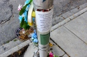Memorial for Jose Medina, 61, who was struck and killed by a vehicle, May 23, 2014, in the Logan Square neighborhood of Chicago. (Photo by Emily Brosious/ Aug. 22, 2014)