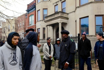 Dec. 2013   Documentary filmmakers direct re-enactment of former Black Panther leader Fred Hampton's murder by police in West Chicago.  Photo/Emily Gray Brosious