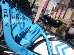 May 2014 | Divvy rental bicycles lined up on Chicago's State Street. | Photo/Emily Gray Brosious