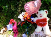 Memorial for Jaynisha Schaffer, 19, who was shot to death Jul. 7 in the 2200 block of West 69th Street in Chicago's Chicago Lawn neighborhood. (Photo by Emily Brosious / Jul. 9, 2014)