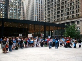 Aug. 21, 2013 |Organizing For Action demonstrators rally for tighter gun legislation in Chicago's Loop.