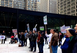 Oct. 28, 2013 | Demonstrators with the organization Restore the Fourth Chicago protest mass surveillance in Chicago's Loop.
