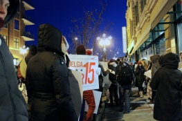 """Nov. 27, 2013   """"The growing tendency of large retailers to keep their doors open on Thanksgiving amounts to another slap in the face to an already beggared workforce,"""" said Matthew Camp, a Whole Foods worker and member of the Workers Organizing Committee of Chicago. (Photo/Emily Brosious)"""