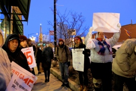 """Nov. 27, 2013   """"We are here to defend Thanksgiving and to demand that Whole Foods give their workers a fair system of scheduling,"""" said Deivid Rojas of the Workers Organizing Committee of Chicago. (Photo/Emily Brosious)"""