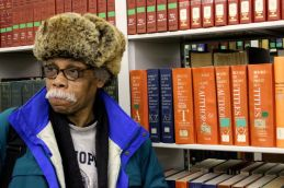 """Jan. 14, 2014   """"I just got a new laptop, so I'm here trying to figure out how this thing works,"""" said Alonzo Mosley Jr. Monday afternoon at the Harold Washington Library in Chicago's Loop.   Photo/ Emily Gray Brosious)"""