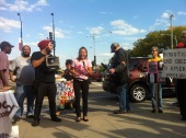 Sept. 28, 2013 | CODEPINK co-founder and activist Medea Benjamin speaking at the Midwest Action Against Drones rally in Chicago. (Photo/ Emily Brosious)