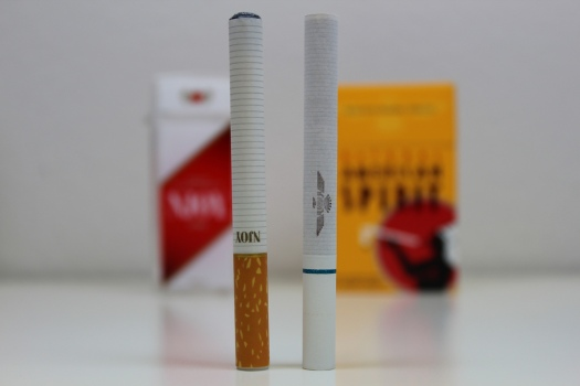 Electronic Cigarette vs. Tobacco Cigarette (Photo/Lindsay Fox)