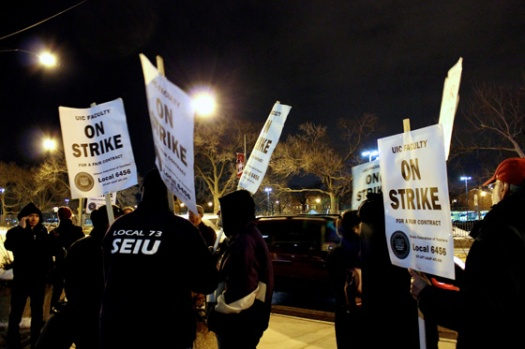 Evening picket line at UIC pavillion on Tuesday. (Photo/Emily Brosious)