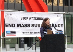 Kathryn Callaghan, of Restore The Fourth Chicago, speaking against mass surveillance. (Photo/Emily Brosious)