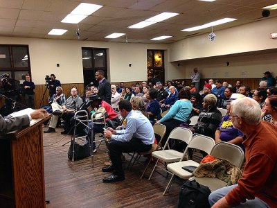 Community members share their opinions on the city budget. (Photo/Emily Brosious)
