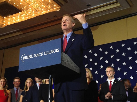 Bruce Rauner makes a point during his victory speech. (Photo / Emily Brosious)