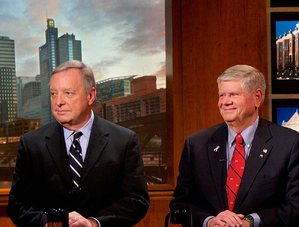 Dick Durbin (left) and Jim Oberweis sparred on minimum wage, voting records, ISIS and the environment. (Photo/Emily Brosious)
