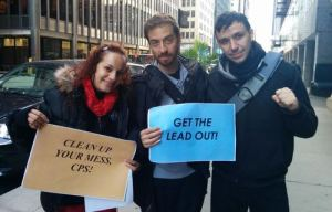 Demonstrators protest lead-contaminated schools outside CPS' Loop headquarters. Photo by Kelly Hayes