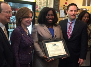 Obama cabinet members met Monday at Ain't She Sweet Cafe in Chicago's Bronzeville neighborhood to announce a new microfinance initiative on the the city's South Side. / Photo courtesy of SBA